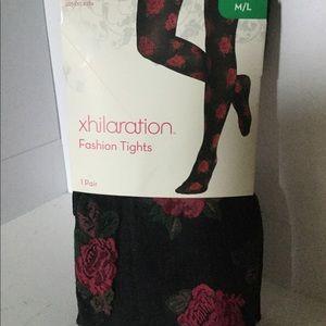 NWT Xhilaration Black Floral Fashion Tights